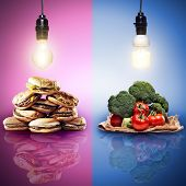 food concept shot with contrasting food