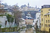 Grund Neighbourhood in Luxembourg on winter