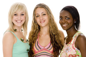 foto of beautiful young woman  - three beautiful young women in colorful casual clothing - JPG