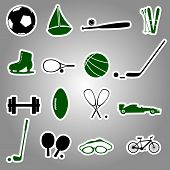 sport equipment stickers eps10