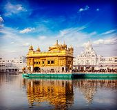 foto of gurudwara  - Vintage retro hipster style travel image of famous India attraction Sikh gurdwara Golden Temple  - JPG