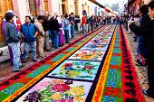 Colorful Holy Week Carpet In Antigua, Guatemala