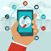 Vector Mobile Phone With Icons In Flat Style