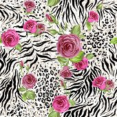 Animal skin and roses. Seamless repeating pattern