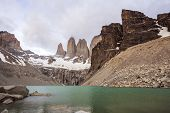 Mountains And Lake In Cloudy Day In Chile.