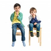 stock photo of shh  - Kids doing silence gesture over white background - JPG