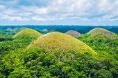 stock photo of chocolate hills  - Famous Chocolate Hills natural landmark Bohol island Philippines - JPG