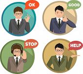 set of gestures shows business man
