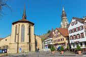 ESSLINGEN, GERMANY - APRIL 02,2014: Medieval buildings located at Market Square (Marktplatz) in Esslingen am Neckar near Stuttgar