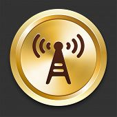 Signal Tower Icons on Gold Button Collection