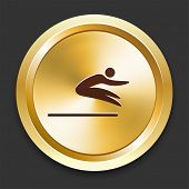 Long Jump Icons on Gold Button Collection