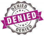 picture of denied  - Denied violet grunge retro style isolated seal - JPG