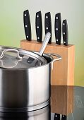 pot on induction hob and knifes