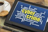 internet concept - cybercrime word cloud on a digital tablet
