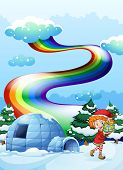 Illustration of an elf near the igloo with a rainbow in the sky
