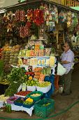Fruit and Vegetable Stand at Market in Lima, Peru