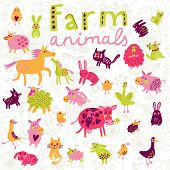 Funny farm animals in vector set.