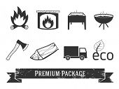 Firewood icons set