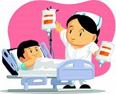 Cartoon of Nurse Helping Child Patient
