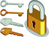 stock photo of locksmith  - A vector image of keys and padlock in brass and metal version - JPG