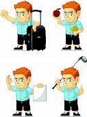 Red Head Boy Customizable Mascot 6