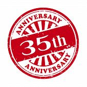 35Th Anniversary Grunge Rubber Stamp