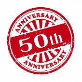 50Th Anniversary Grunge Rubber Stamp