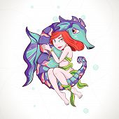 Girl and Sea Horse
