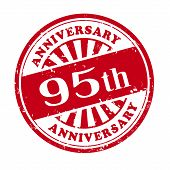 95Th Anniversary Grunge Rubber Stamp