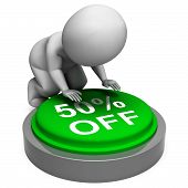 Fifty Percent Off Means Half-price Product Or Service