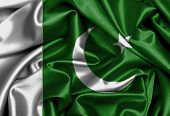 stock photo of pakistani flag  - Satin flag three dimensional render flag of Pakistan - JPG