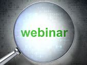 Education concept: Webinar with optical glass