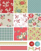 stock photo of paper craft  - Vintage Inspired Vector Seamless Rose Patterns and Icons - JPG