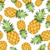 Seamless background with pineapples. Vector illustration.