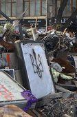 KIEV, UKRAINE -MAR 24, 2014: Downtown of Kiev.Barricades.Riot in Kiev and Western Ukraine.March 24, 2014 Kiev, Ukraine