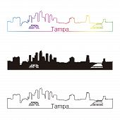Tampa Skyline Linear Style With Rainbow
