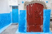 Colorful Street Fragment. Old Medina, Historical Part Of Tanger City, Morocco