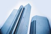 stock photo of tilt  - Modern business skyscrapers generic unidentified buildings  - JPG