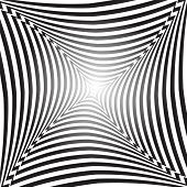 Illusion of space distortion and movement. Abstract op art background. Vector art.