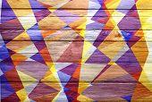geometric cubism mosaic colored on wood background
