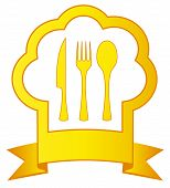 gold Icon With Chef Hat And Kitchen Utensil