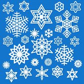Set Of Different White Snowflakes Icons