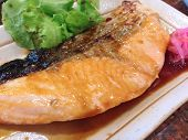 The Salmon Steak With Teriyaki Sauce And Ginger