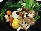 picture of shabu  - the vegetable set for shabu mushroom sweet corn - JPG