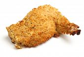 Chicken Kiev breast, stuffed with garlic butter and covered in breadcrumbs.