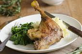 image of roast duck  - Roast duck with mashed potatoes and wilted spinach - JPG
