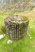stock photo of spigot  - Spigot Mortar Emplacement World War Two defense Nant Francon Pass Ogwen Cottage Gwynedd Wales United Kingdom - JPG