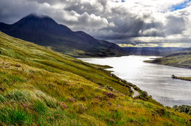 picture of boggy  - Scenic view of the lake and mountains Inverpolly Scotland United Kingdom - JPG