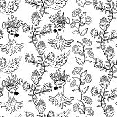 seamless pattern with flowers and birds
