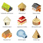 Houses Of Different Nations Icons Vector Set